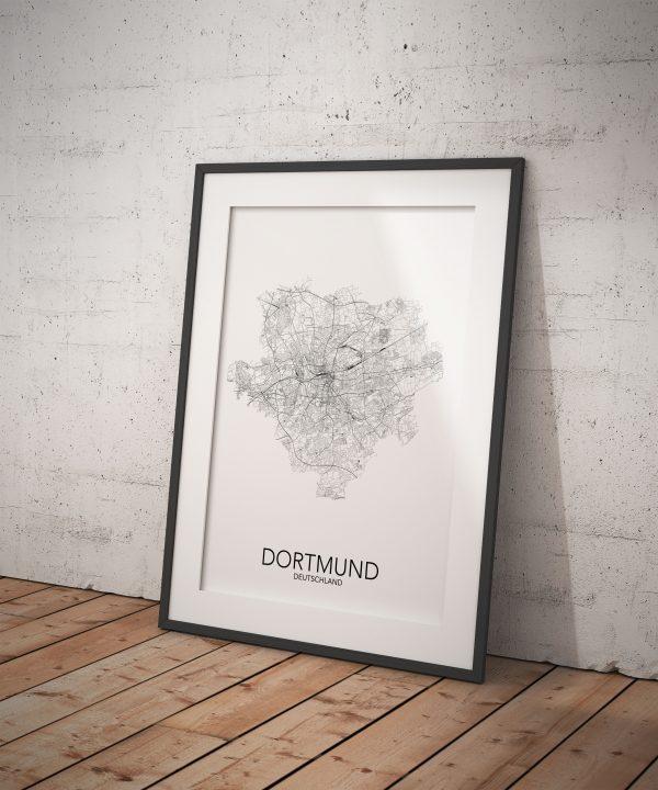 posterlin – Städteposter Dortmund in schwarz-weiß