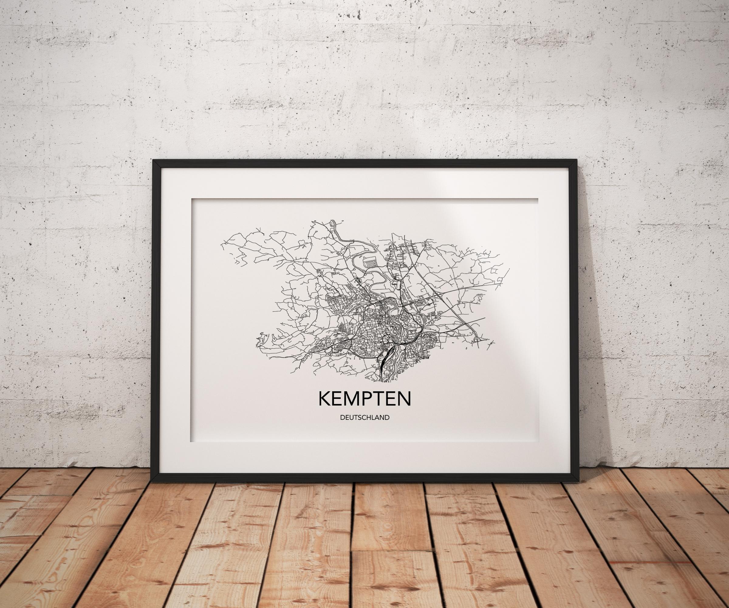 Städteposter in schwarz-weiß der Stadt